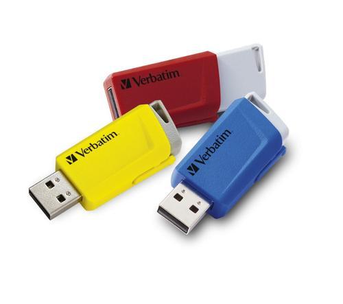 Stick USB Verbatim Store 'n' Click, 16 GB, USB 3.2, 3 buc.(Rosu/Galben/Albastru)