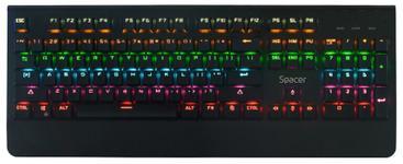 Tastatura Gaming Mecanica SPACER SPKB-MK-01, USB, iluminare RGB (Negru)