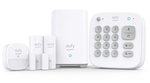 Kit complet alarma Smart eufy Security T8990321, Senzor miscare, 2x Senzori intrare, Tastatura, Wireless (Alb) imagine