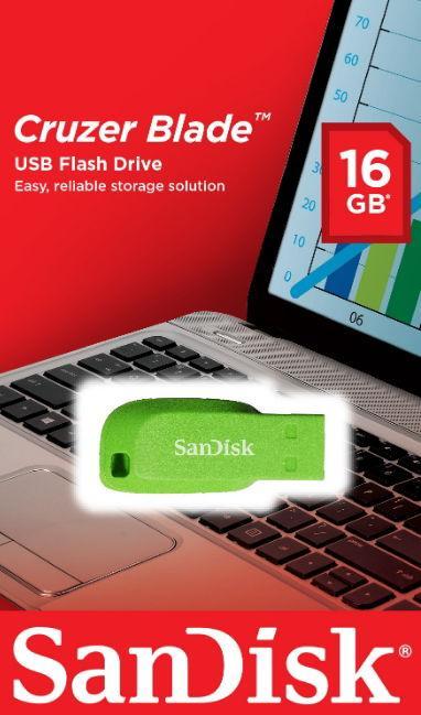 Stick USB SanDisk Cruzer Blade SDCZ50C-016G-B35GE, 16GB, USB 2.0 (Verde)