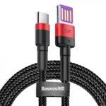 Cablu de date Baseus Cafule HW Quick Charging CATKLF-P91, USB Type-C, 1 m, 40 W, 5 A (Negru/Rosu)