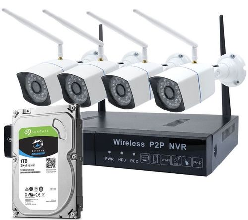 Pachet Kit supraveghere video PNI House WiFi550 NVR, 4 camere wireless, 1.0MP, IP66, HDD 1TB inclus