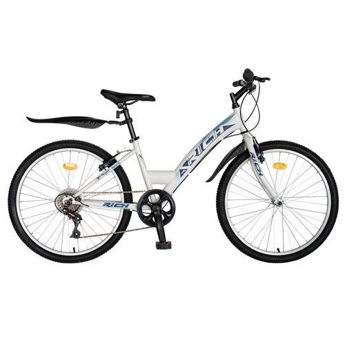 Bicicleta TREKKING RICH R2430A, 6 viteze, roti 24inch, frana V-Brake (Alb/Albastru)