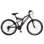 "Bicicleta MTB RICH R2449A, Roti 24"", frana V-Brake, 18 viteze (Negru/Portocaliu)"