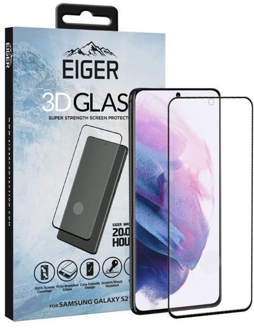 Folie Protectie Sticla Temperata Eiger 3D Case Friendly EGSP00697 pentru Samsung Galaxy S21 (Transparent/Negru) imagine evomag.ro 2021