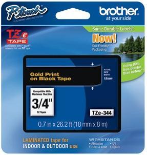 Brother Etichete TZE334 12mm (auriu/negru)