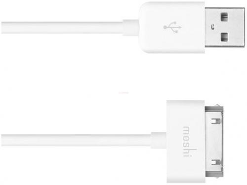 Cablu de date Moshi compatibil iPhone / iPad / iPod (Alb)